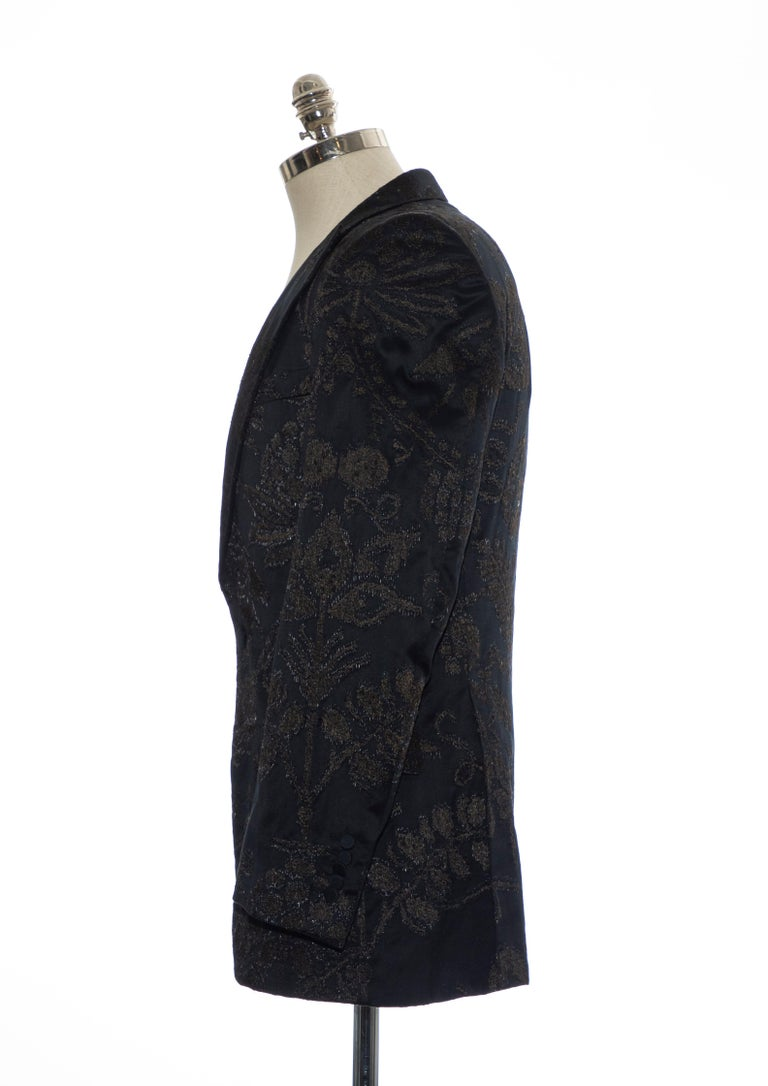 Gucci Tom Ford Black Satin Jacquard Tuxedo Blazer, Spring 2000 For Sale 4