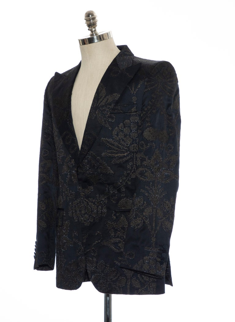 Gucci Tom Ford Black Satin Jacquard Tuxedo Blazer, Spring 2000 For Sale 5