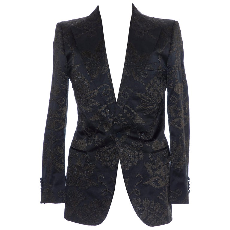 Gucci Tom Ford Black Satin Jacquard Tuxedo Blazer, Spring 2000 For Sale