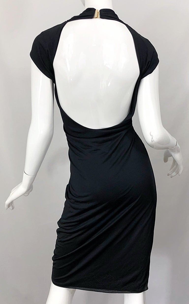 Gucci Tom Ford Fall 2003 Runway Black Cut Out Backless Stretch Jersey Dress  For Sale 8