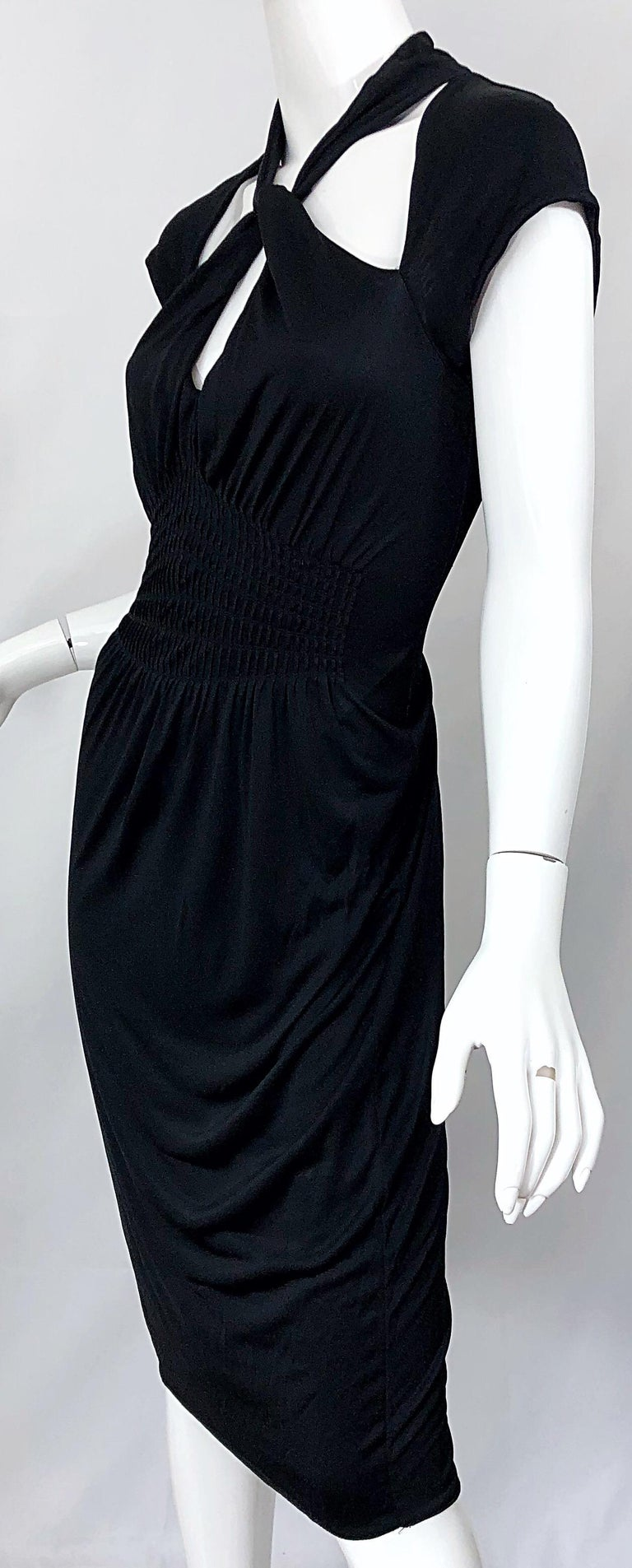 Gucci Tom Ford Fall 2003 Runway Black Cut Out Backless Stretch Jersey Dress  For Sale 9
