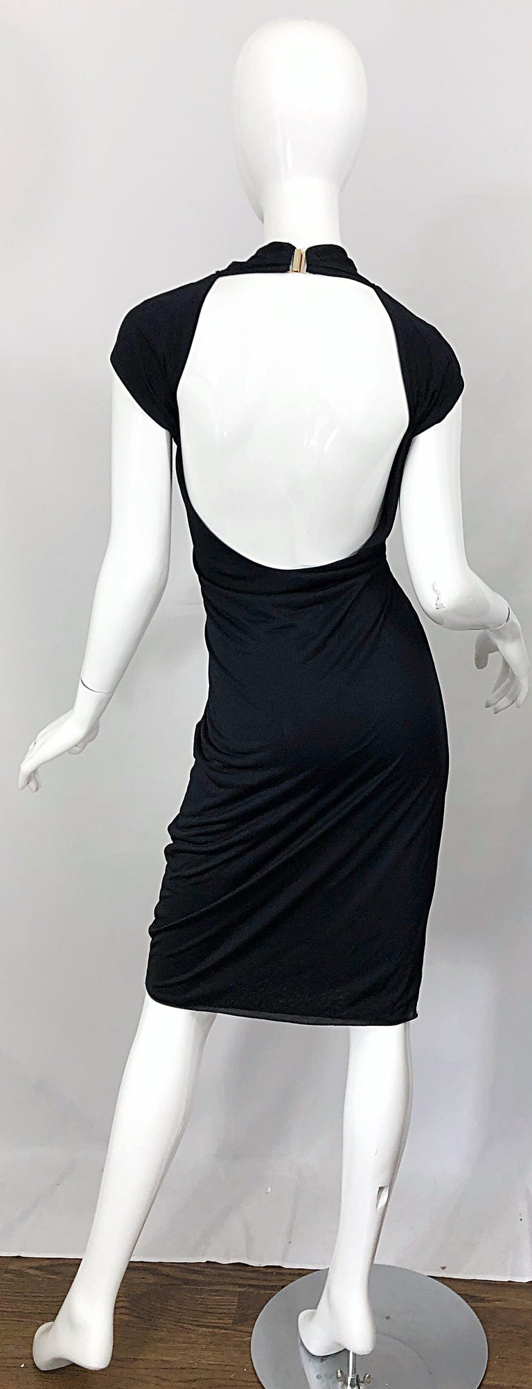 Gucci Tom Ford Fall 2003 Runway Black Cut Out Backless Stretch Jersey Dress  For Sale 10