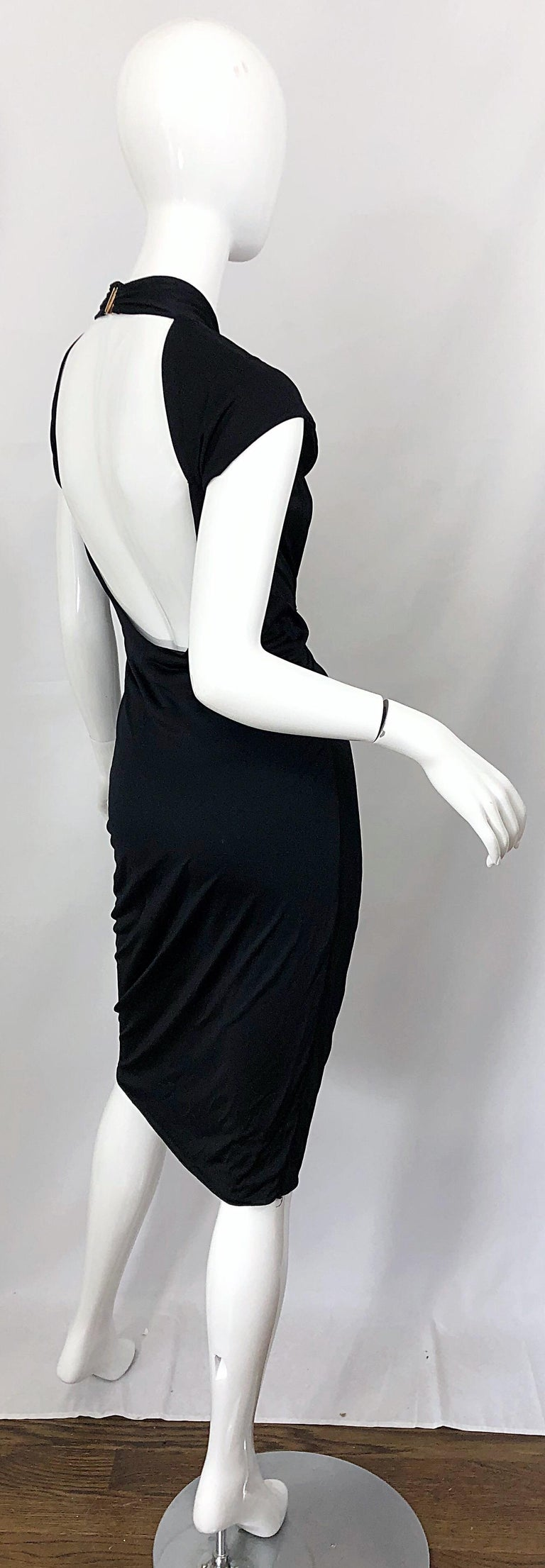 Gucci Tom Ford Fall 2003 Runway Black Cut Out Backless Stretch Jersey Dress  For Sale 11