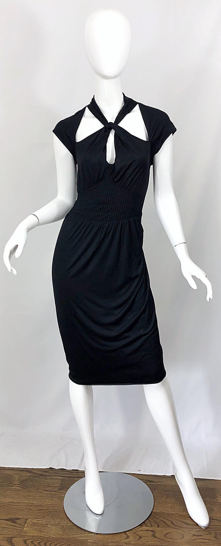 Gucci Tom Ford Fall 2003 Runway Black Cut Out Backless Stretch Jersey Dress  For Sale 12
