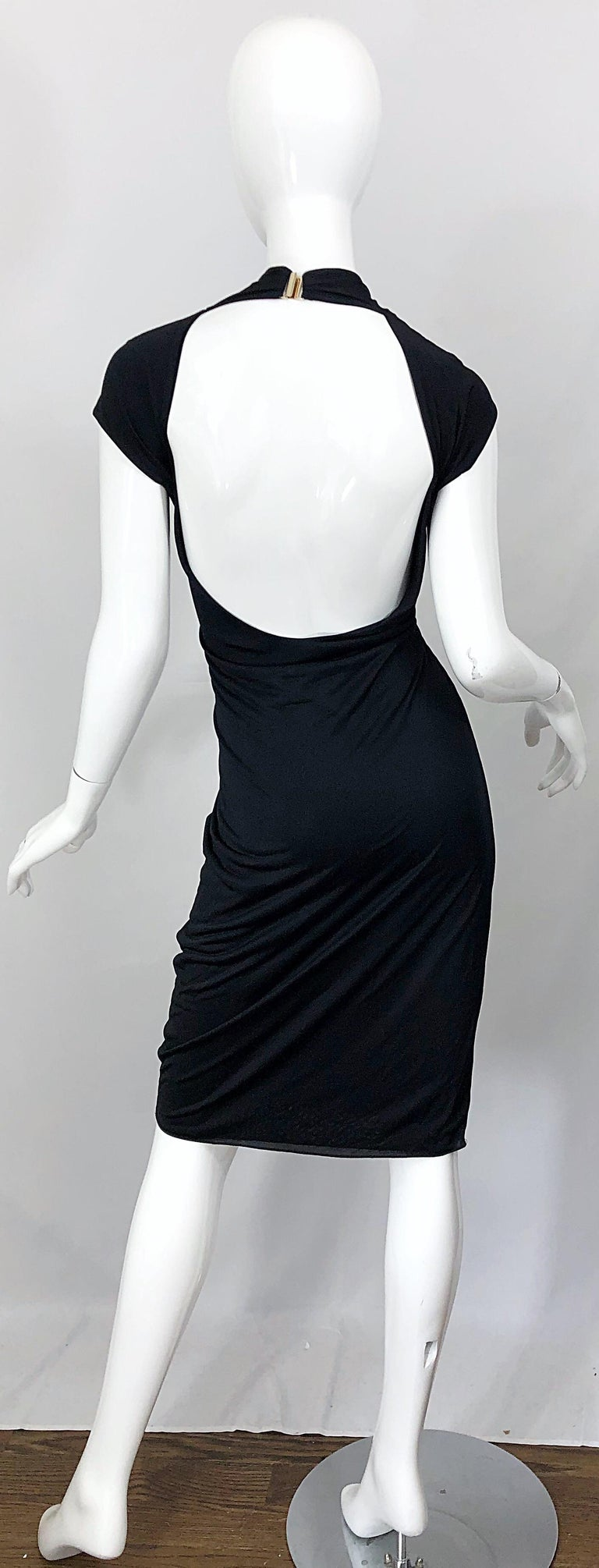 Gucci Tom Ford Fall 2003 Runway Black Cut Out Backless Stretch Jersey Dress  In Excellent Condition For Sale In Chicago, IL