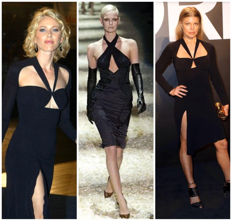 Women's Gucci Tom Ford Fall 2003 Runway Black Cut Out Backless Stretch Jersey Dress  For Sale