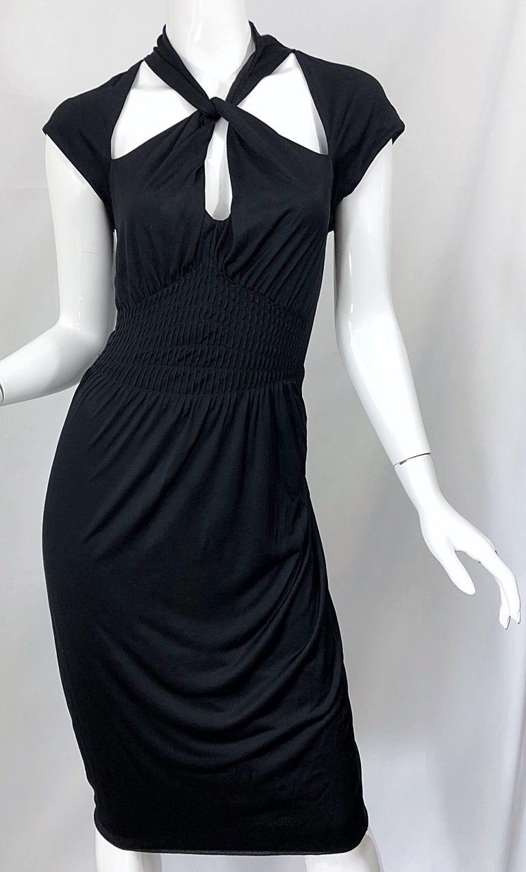 Gucci Tom Ford Fall 2003 Runway Black Cut Out Backless Stretch Jersey Dress  For Sale 3