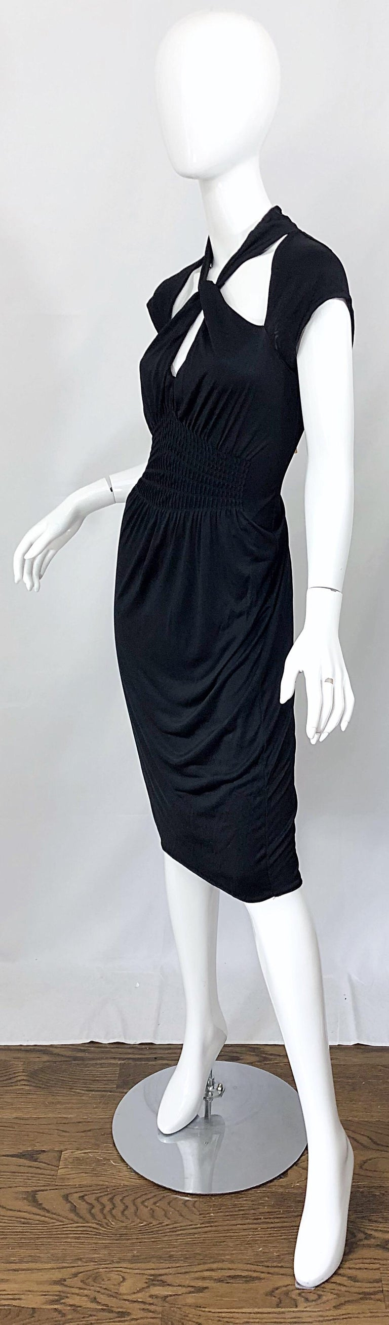 Gucci Tom Ford Fall 2003 Runway Black Cut Out Backless Stretch Jersey Dress  For Sale 5