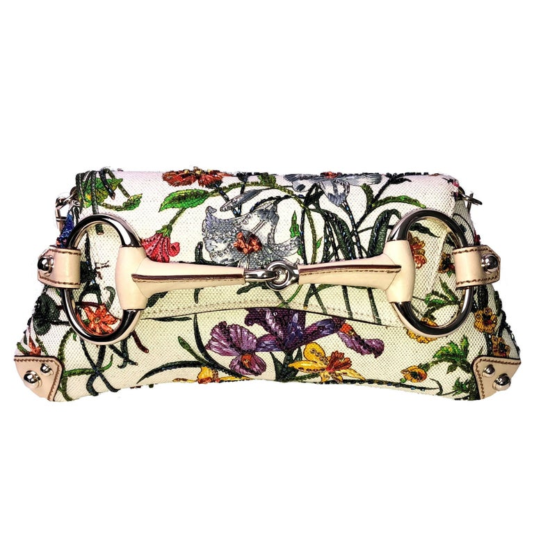 Gucci Tom Ford Limited Flora Beaded Embroidered Horsebit Bag - Museum Piece