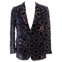 Gucci Tom Ford Runway Men's Navy Blue Geometric Velvet Evening Jacket, Fall 2000
