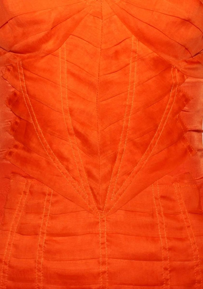 Gucci Tom Ford Spring 2004 Tangerine Frayed Silk Organza Dress In New Condition For Sale In Switzerland, CH