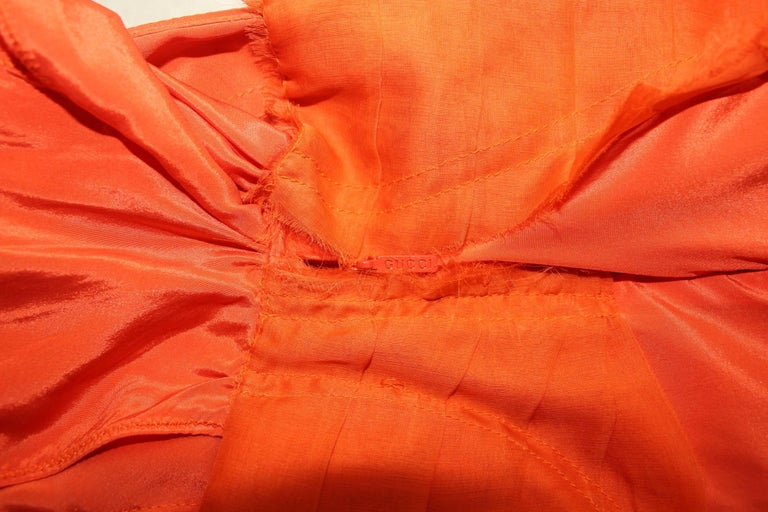 Gucci Tom Ford Spring 2004 Tangerine Frayed Silk Organza Dress For Sale 1