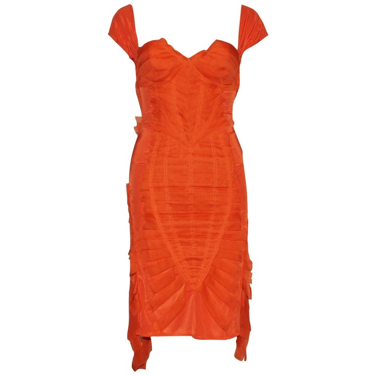 Gucci Tom Ford Spring 2004 Tangerine Frayed Silk Organza Dress For Sale