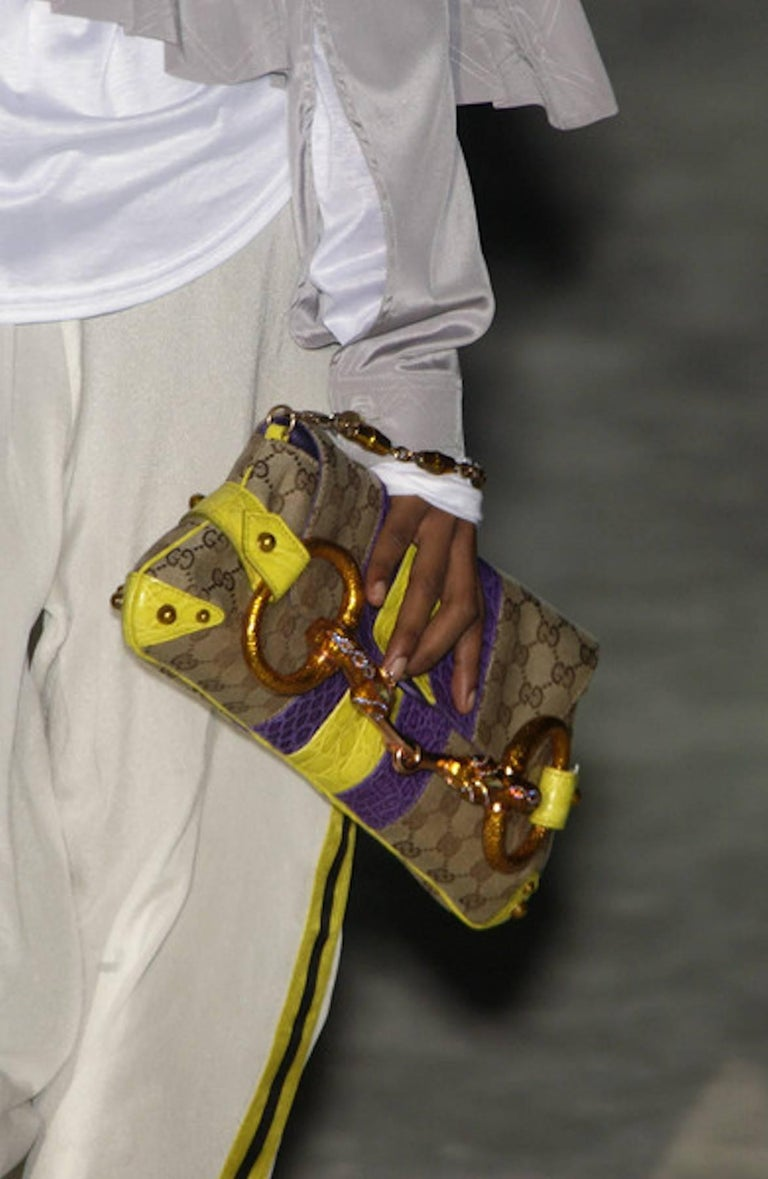 Gucci Tom Ford SS 2004 XL GG Monogram Jeweled Snake Head Bag For Sale 5