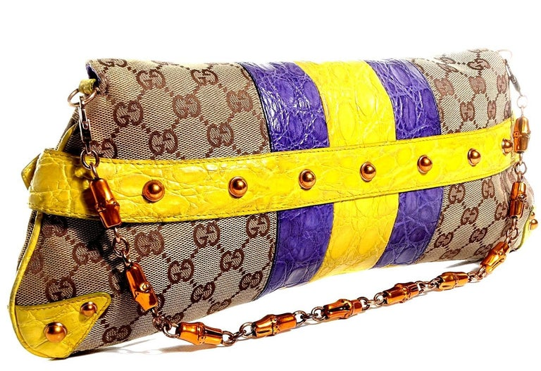 Brown Gucci Tom Ford SS 2004 XL GG Monogram Jeweled Snake Head Bag For Sale