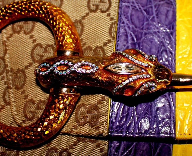 Gucci Tom Ford SS 2004 XL GG Monogram Jeweled Snake Head Bag For Sale 1