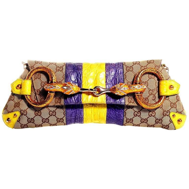 Gucci Tom Ford SS 2004 XL GG Monogram Jeweled Snake Head Bag For Sale