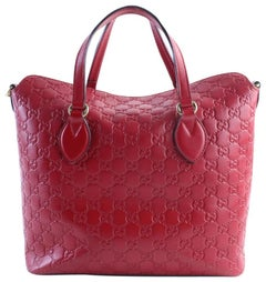 Gucci Top Handle Tote 11gr0606 Red Guccissima Leather Shoulder Bag