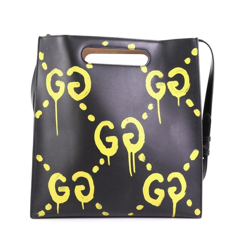 Black Gucci Tote GucciGhost Leather Medium