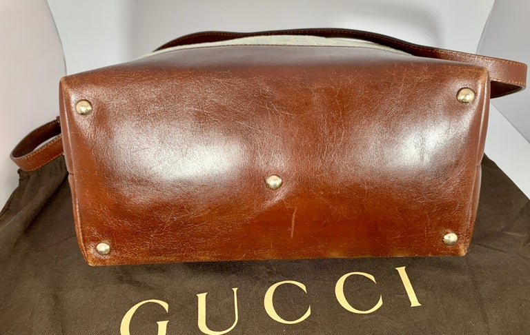 Women's GUCCI Tote  Light Bag  Blue Canvas Purse with Brown Leather For Sale