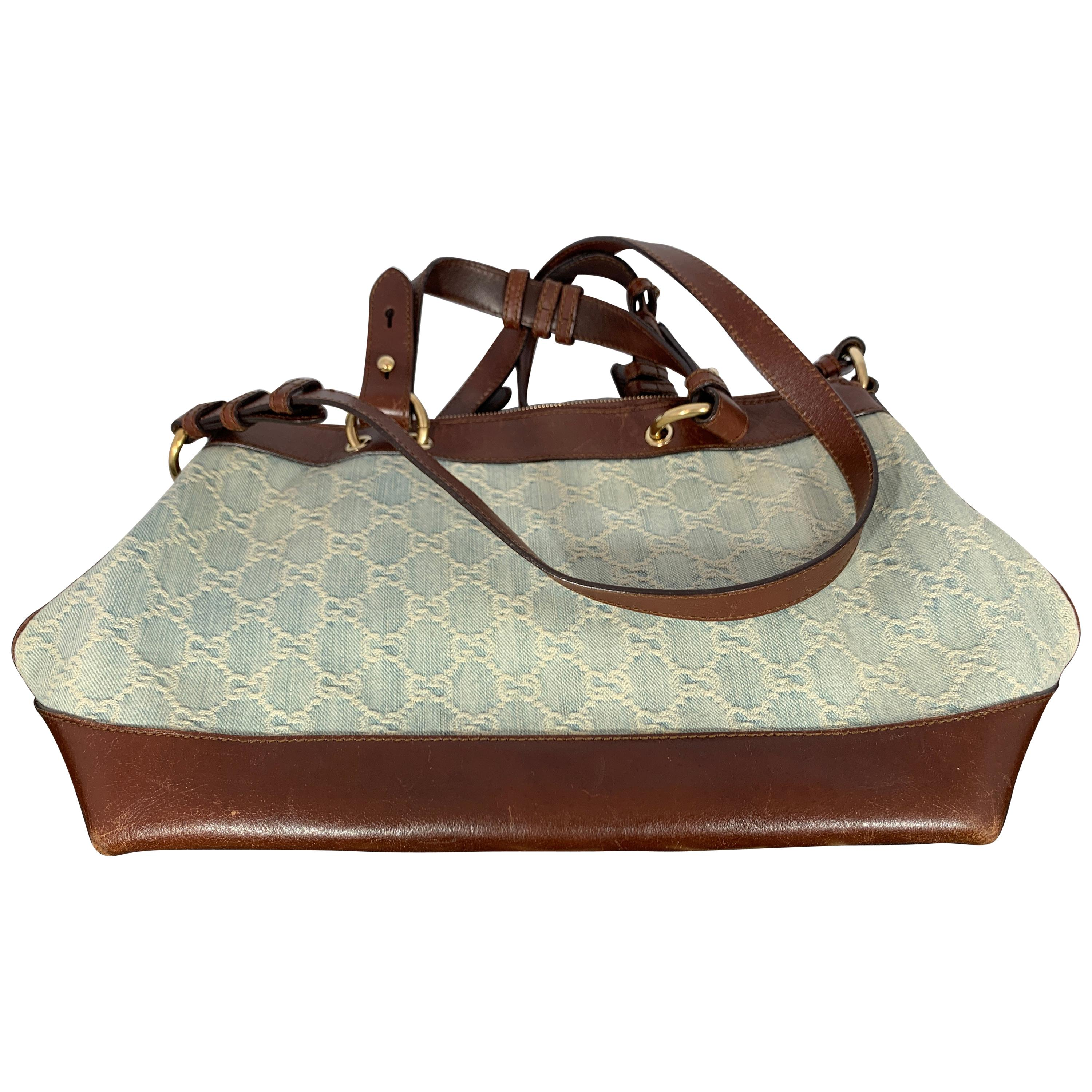 GUCCI Tote  Light Bag  Blue Canvas Purse with Brown Leather