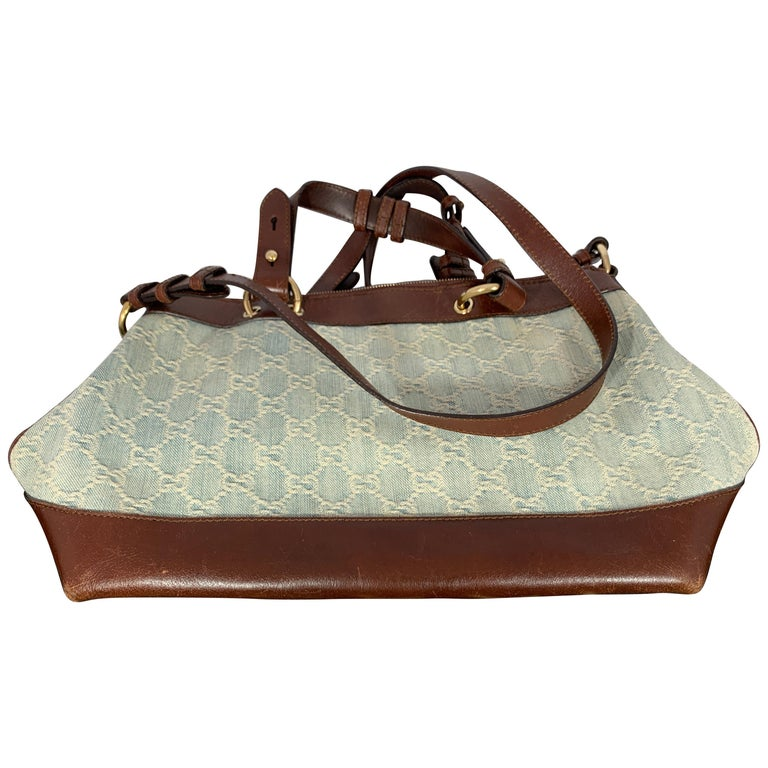 GUCCI Tote  Light Bag  Blue Canvas Purse with Brown Leather For Sale