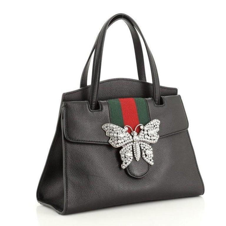 Black Gucci Totem Top Handle Bag Leather Medium For Sale