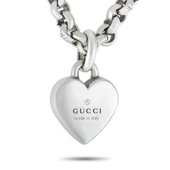 Gucci Trademark Silver Heart Pendant Necklace