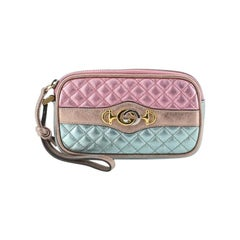 Gucci Trapunata Wristlet Quilted Laminated Leather