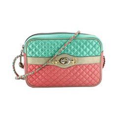 Gucci Trapuntata Camera Bag Quilted Laminated Leather Medium