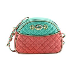Gucci Trapuntata Camera Shoulder Bag Quilted Laminated Leather Mini