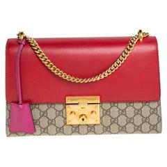 Gucci Tri Color GG Supreme Canvas and Leather Medium Padlock Shoulder Bag