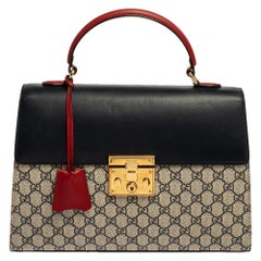 Gucci Tri Color GG Supreme Canvas and Leather Medium Padlock Top Handle Bag