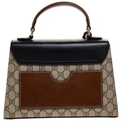 Gucci Tri Color GG Supreme Canvas and Leather Small Padlock Top Handle Bag