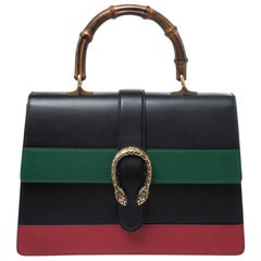 Gucci Tri Color Leather Large Dionysus Bamboo Top Handle Bag