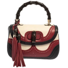 Gucci Tri Color Leather Medium Limited Edition Tassel New Bamboo Top Handle Bag