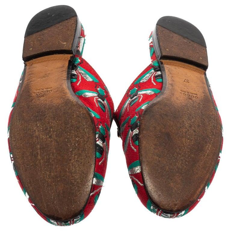 Gucci Tricolor Jacquard Fabric Horsebit Princetown Bees Flat Mules Size 37 In Good Condition For Sale In Dubai, Al Qouz 2
