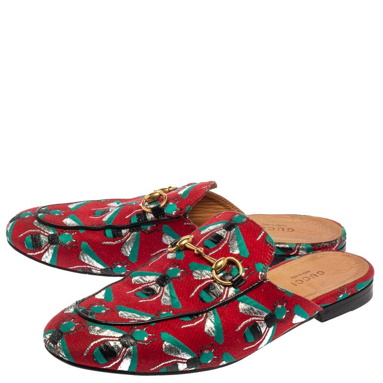 Gucci Tricolor Jacquard Fabric Horsebit Princetown Bees Flat Mules Size 37 For Sale 1