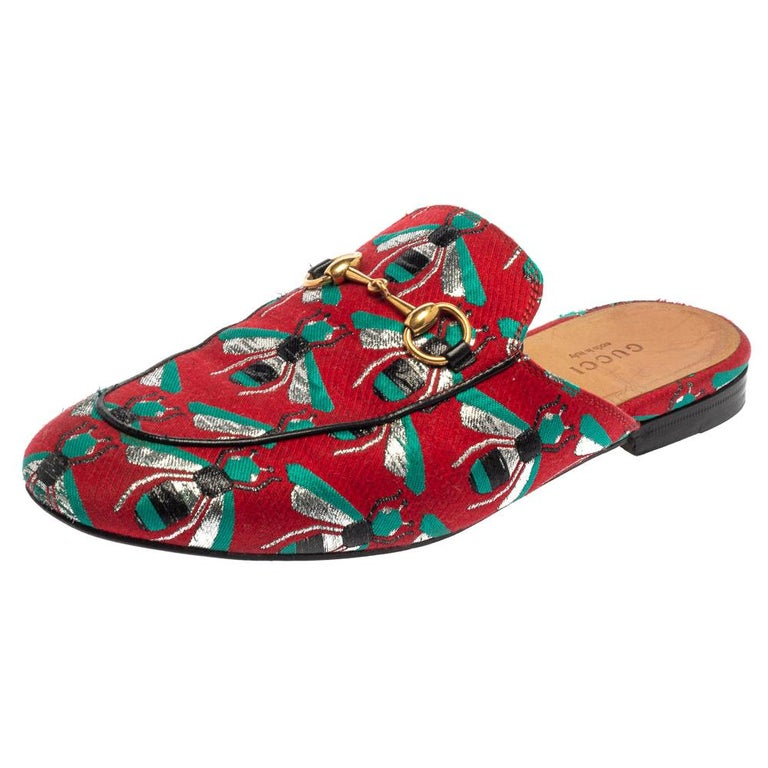 Gucci Tricolor Jacquard Fabric Horsebit Princetown Bees Flat Mules Size 37 For Sale
