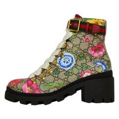 Gucci Trip GG Floral GG Supreme Combat Boots sz 36 rt. $980