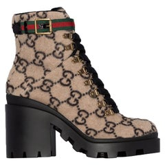 Gucci Trip Grosgrain-Trimmed Logo-Print Wool Ankle Boots