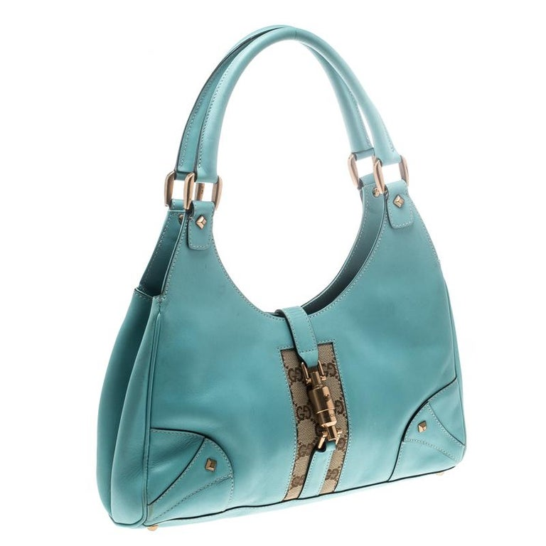 f2075096c70ce9 Gucci Turquoise Leather and GG Canvas Jackie O Hobo For Sale at 1stdibs