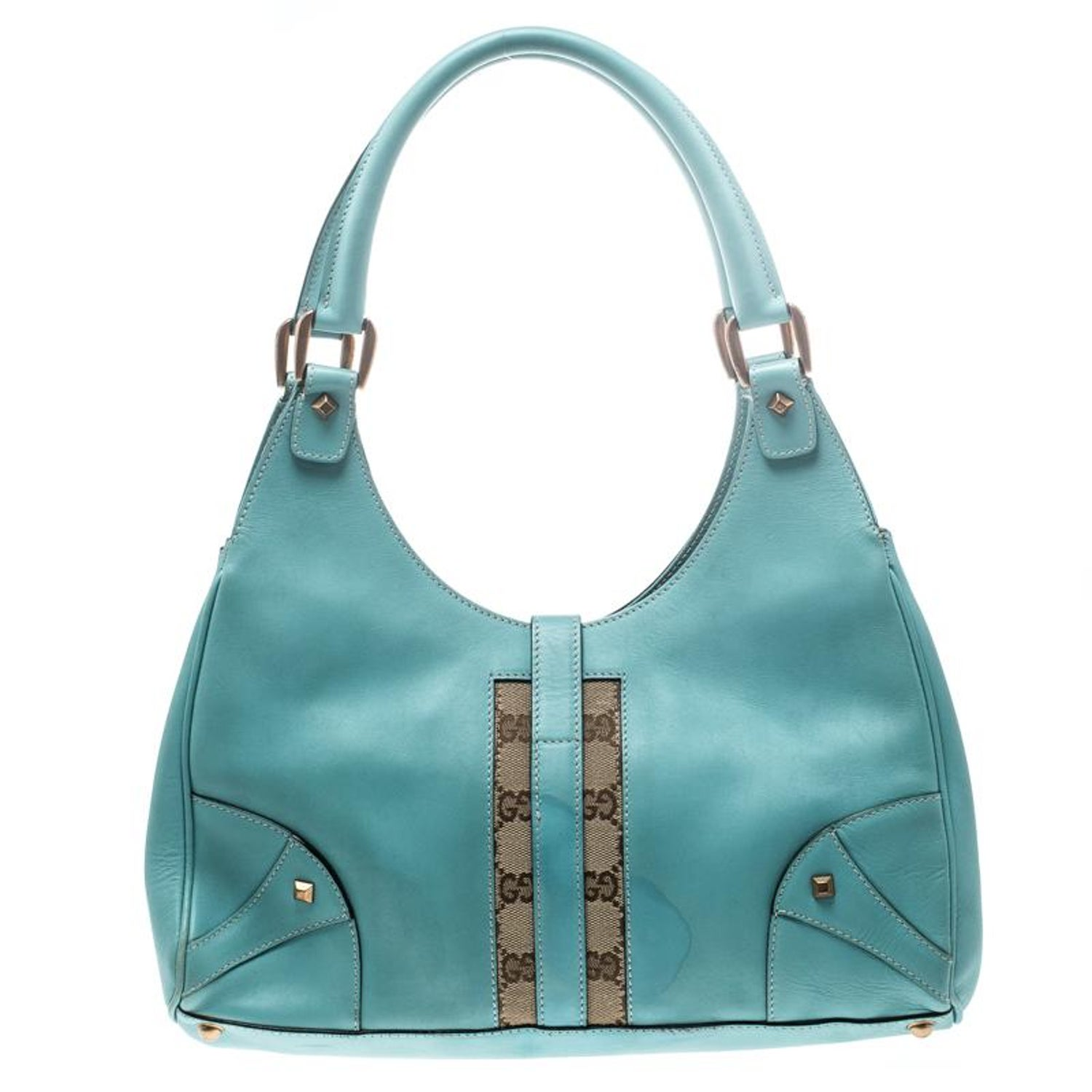 9099c8776 Gucci Turquoise Leather and GG Canvas Jackie O Hobo For Sale at 1stdibs