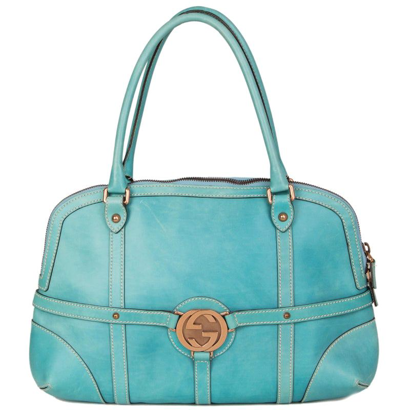 GUCCI turquoise leather GG BUCKLE Shoulder Bag