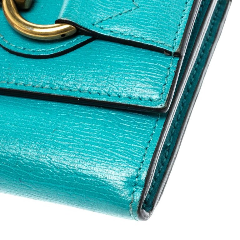 45d3a99e811ef1 Gucci Turquoise Leather Horsebit Continental Wallet In Good Condition For  Sale In Dubai, AE