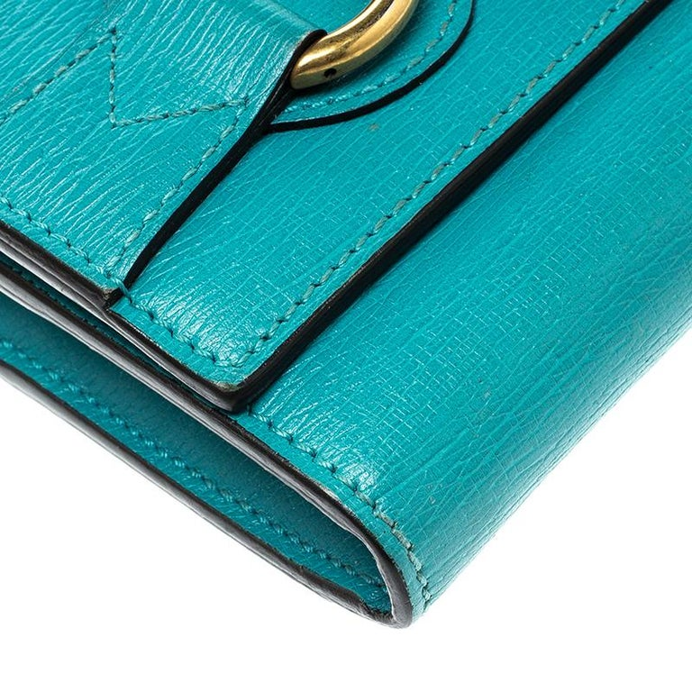 4294a0079706ad Gucci Turquoise Leather Horsebit Continental Wallet For Sale at 1stdibs