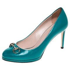 Gucci Turquoise Leather Horsebit Pumps Size 36.5