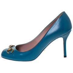 Gucci Turquoise Leather Horsebit Pumps Size 39.5
