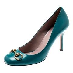 Gucci Turquoise Leather Jolene Horsebit Pumps Size 37