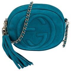 Gucci Turquoise Leather Mini Soho Disco Chain Crossbody Bag